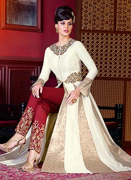 Cream Art Silk Straight Pant Suit