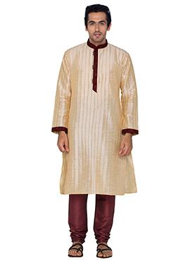 Cream Art Silk Striped Kurta Pyjama