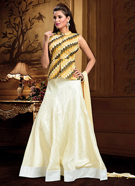 Cream Art Silk Umbrella Lehenga