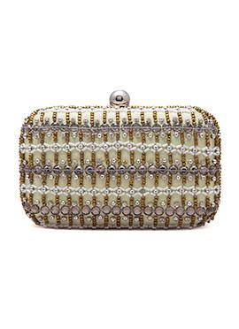 Yellow N Gold Beads Embellished Stylish Box Clutch