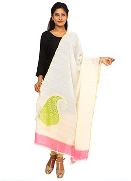 Cream Benarasi Cotton Dupatta