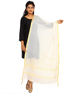 Cream Benarasi Cotton Jute Dupatta