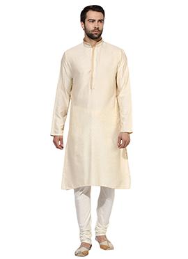 Cream Benarasi Cotton Silk Kurta