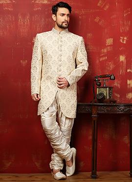 Cream Benarasi Silk Breeches Style Achkan Sherwani