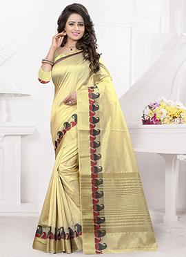 Cream Benarasi Silk Saree