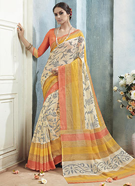 Cream Bhagalpuri Khadi Silk Printed Saree