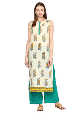 Cream Blended Cotton Palazzo Suit