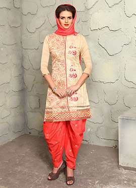 Cream Blended Cotton Dhoti Suit