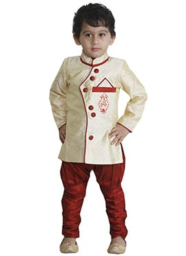 Breeches Style Cream Sherwani