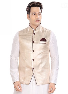 Cream Brocade Bandhgala Jacket