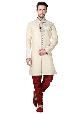 Cream Brocade Breeches Style Indowestern Sherwani