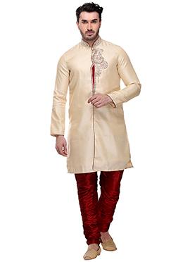 Cream Brocade Breeches Style Sherwani