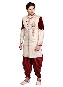 Cream Brocade Dhoti Style Sherwani