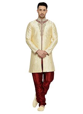 Cream Brocade Indowestern Kurta Pyjama