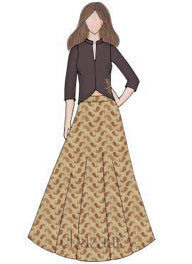 Cream Brocade Indowestern Skirt Set