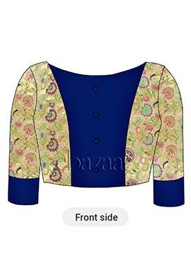 Cream Brocade N Blue Iris Art Dupion Silk Blouse