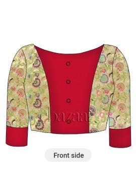 Cream Brocade N High Risk Red Dupion Silk Blouse