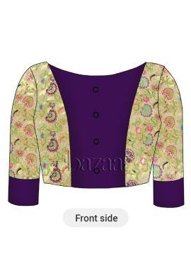 Cream Brocade N Purple Acai Dupion Silk Blouse