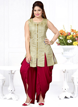 Cream Brocade Dhoti Style Suit