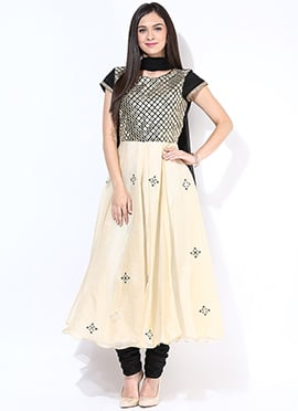 Cream Chanderi Anarkali Suit