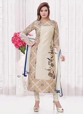Cream Chanderi Cotton Churidar Suit