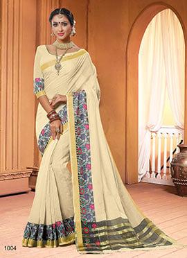 Cream Chanderi Cotton Saree
