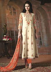 Cream Cotton Anarkali Suit
