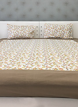Cream Cotton Bed Sheet