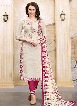 Cream Cotton Churidar Suit