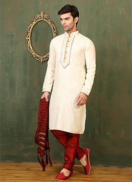 Cream Cotton Linen Kurta Pyjama