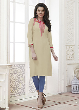 Cream Cotton Rayon Kurti