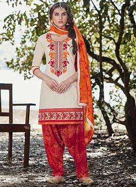 Off white Cotton Salwar Suit