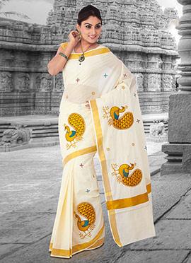Off White Cotton Kasavu Saree
