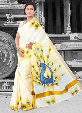 Off White Cotton Kasavu Saree