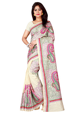 Cream Pure Silk Kantha Embroidered Saree