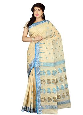 Cream Bengal Handloom Tant Saree