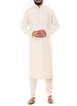 Cream Cotton Silk Kurta Pyjama