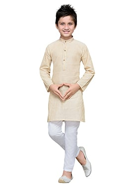 Cream Cotton Striped Boys Kurta Pyjama