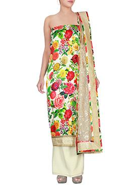 Cream Satin Dress Material