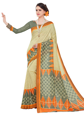 Cream Dhaki Silk Saree