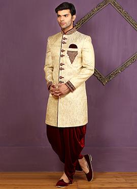 Cream Dhoti Style Achkan Sherwani