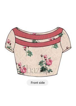 Cream Digital Printed Chanderi Cotton Blouse
