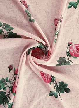 Cream Digital Printed Chanderi Cotton Fabric