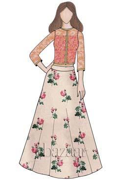 Cream Digital Printed Chanderi Cotton Skirt Set