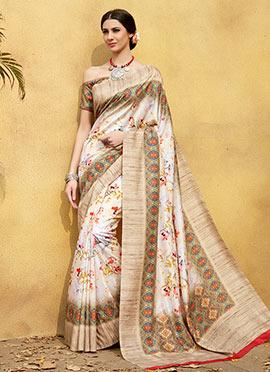 Cream Digital Printed Floral Tussar Silk