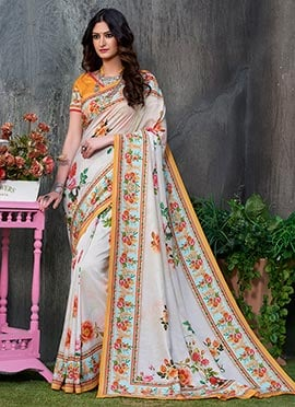 Cream Digital Printed Floral Tussar Silk