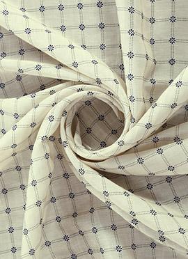 Cream Digital Printed Linen Georgette Fabric