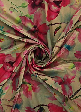 Cream Digital Printed Satin Fabric