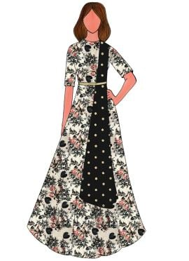 Cream Digital Printed Taffeta Silk Anarkali Suit