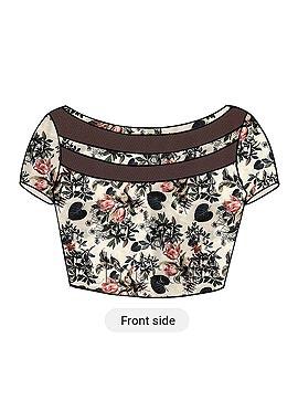 Cream Digital Printed Taffeta Silk Blouse